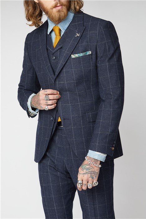 Gibson London Navy and Grey Windowpane Check Suit