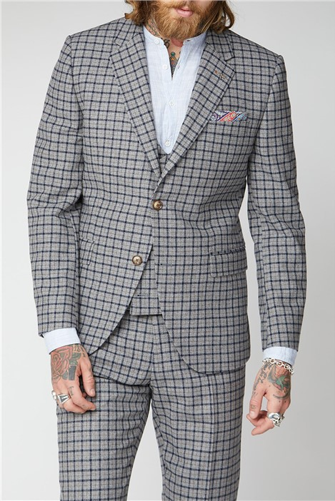 Gibson London Grey, Navy and Brown Check Suit