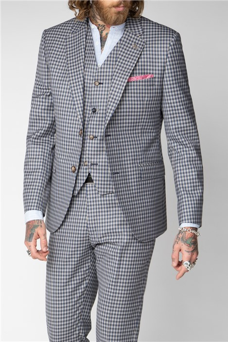 Gibson London Mid Blue and Navy Check Suit