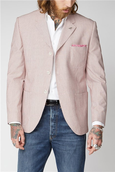 Gibson London Pink Seersucker Stripe Jacket.