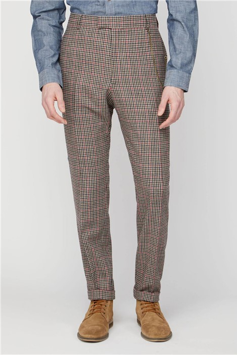 Gibson London Fawn Black and Red check Trousers.