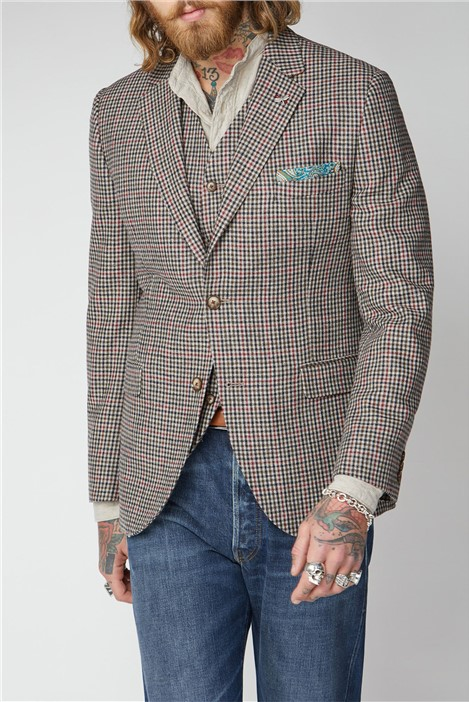 Gibson London Fawn Black and Red Check Jacket