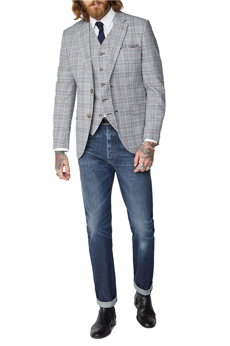 Gibson London Navy, Cream and Fawn Checked Jacket