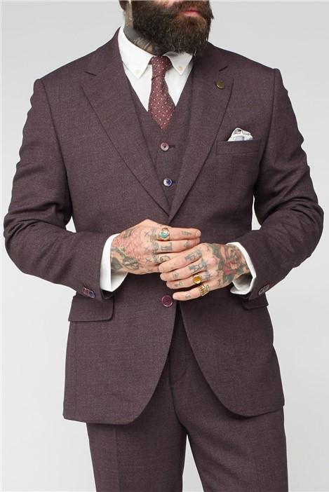 Gibson London Burgundy Mouline Plain Suit
