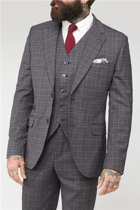 Gibson London Burgundy and Grey Mouline Suit