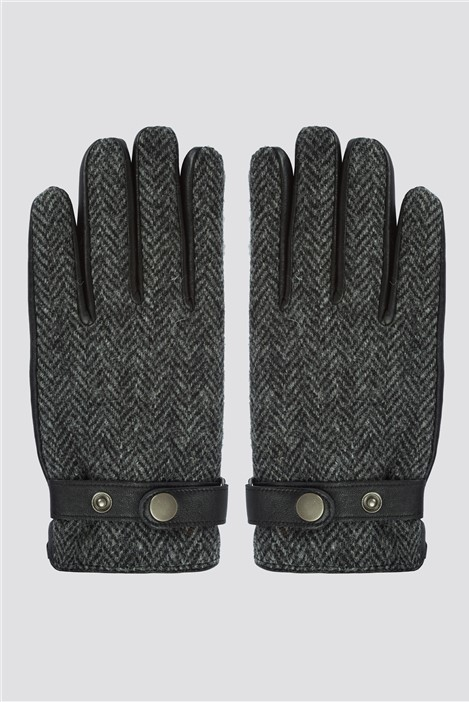 Gibson London Grey Harris Tweed Gloves