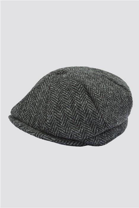 Gibson London Grey Harris Tweed Baker Boy Hat