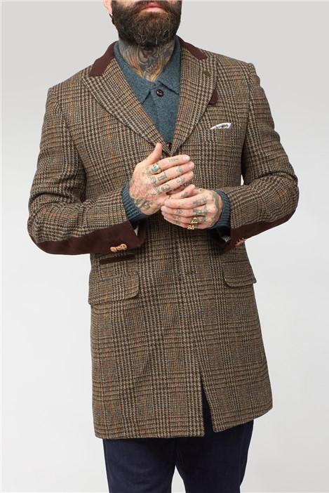 Gibson London Brown Shetland Check Overcoat