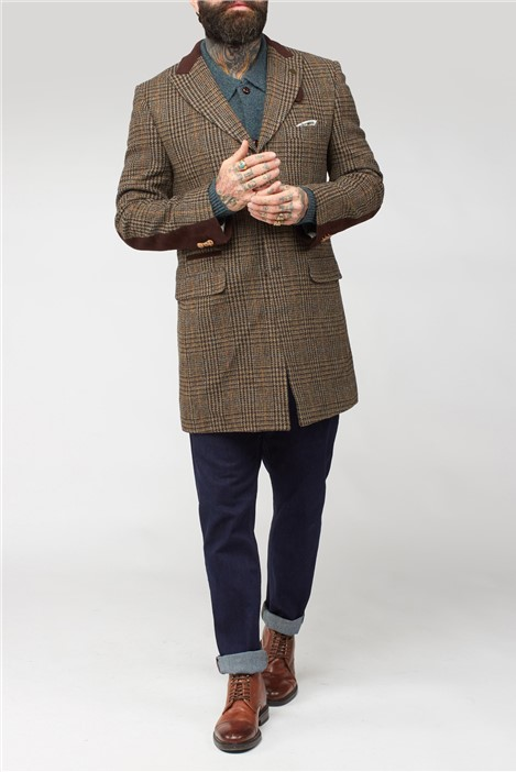 Brown Shetland Check Overcoat