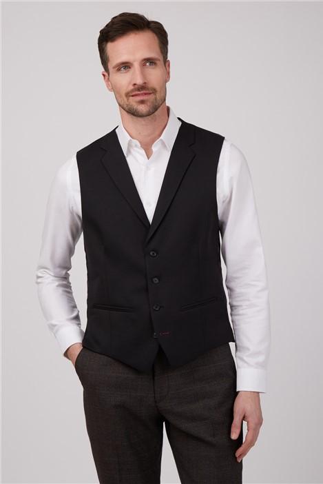 Gibson London Black Twill Waistcoat