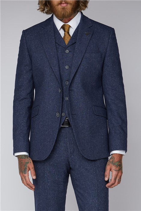 Gibson London Blue Tweed Tailored Fit Suit