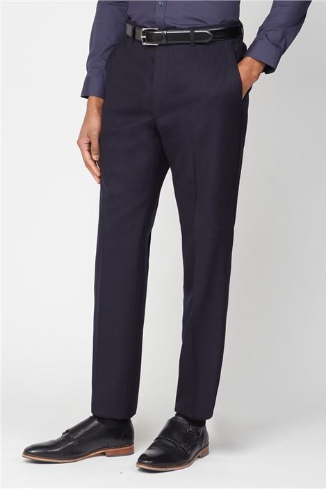 The Label Classic Navy Herringbone Plain Front Trouser