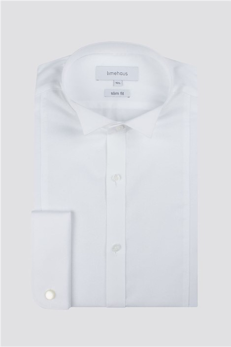 Limehaus Wing Collar Dobby Panelled Slim Fit Shirt