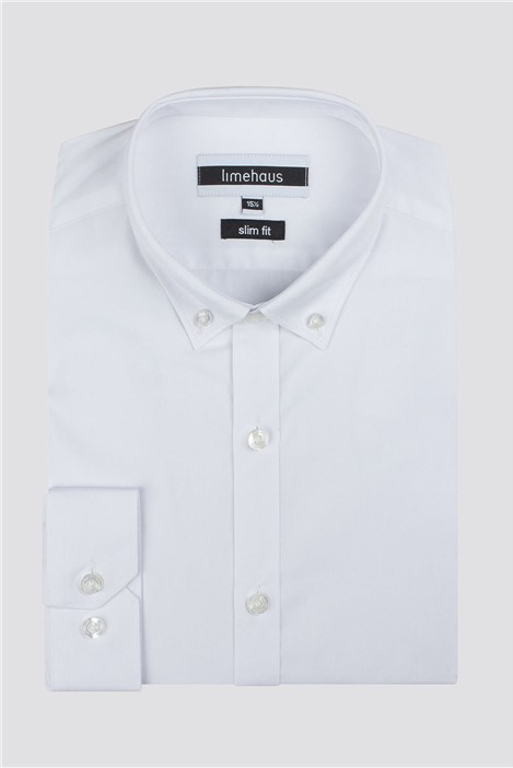 Limehaus White Button Down Collar Slim Fit Shirt