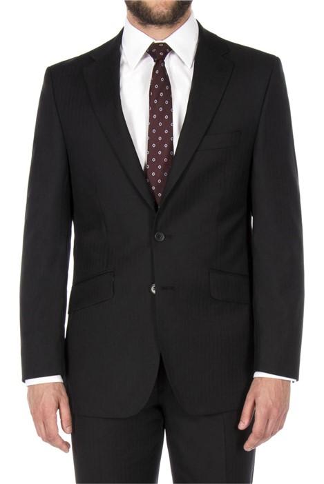 The Label Black Herringbone Regular Fit Suit Jacket