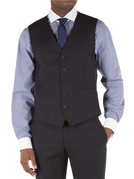 Racing Green Navy Herringbone Tailored Fit Performance Suit Waistcoat