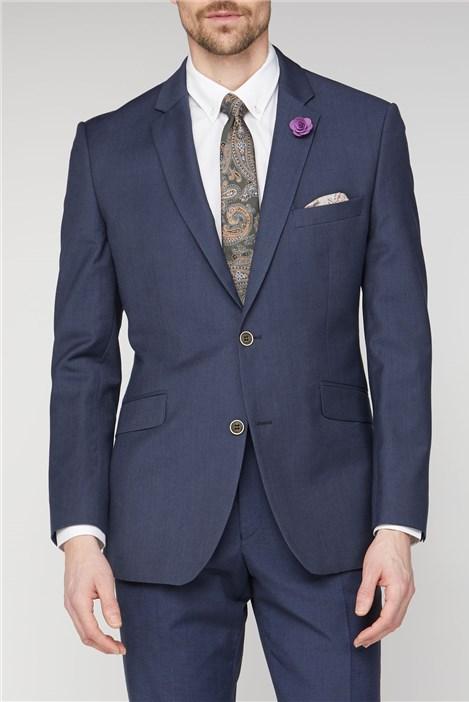 Navy Linen Blend Suit