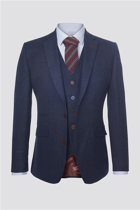 Scott by The Label Navy Textured Suit Jacket