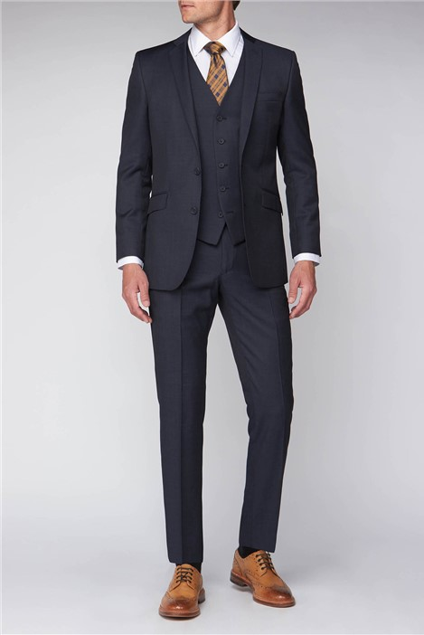 Scott by The Label Blue Black  Pindot Contemporary Fit Suit Jacket