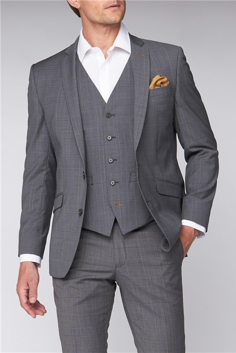 Scott by The Label Contemporary Light Grey Tan Check Suit