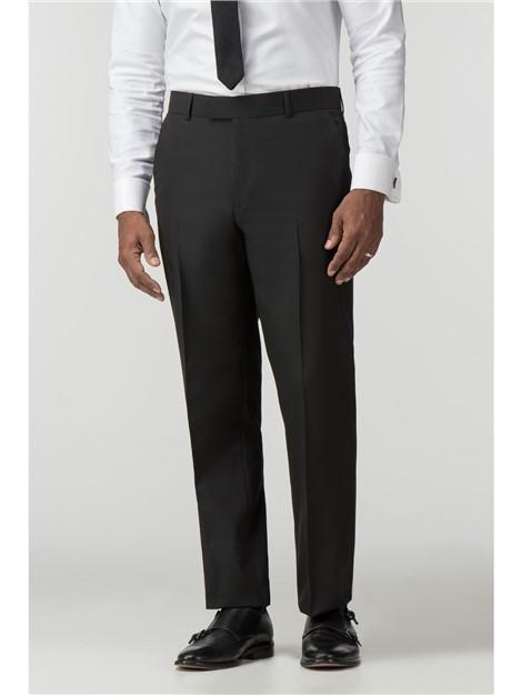 Scott & Taylor Black Panama Regular Fit Suit Trouser