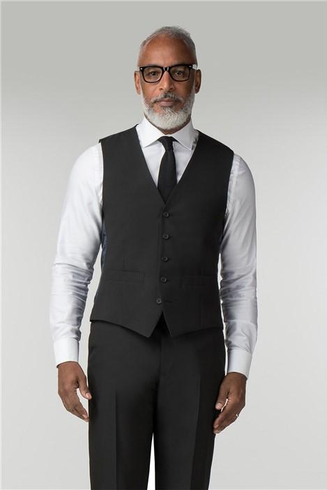 Scott & Taylor Black Panama Regular Fit Waistcoat