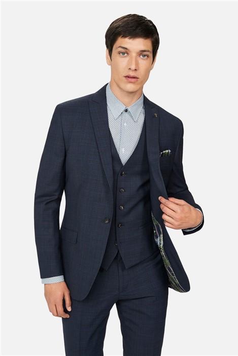 Ted Baker Navy Tonal Check Slim Suit