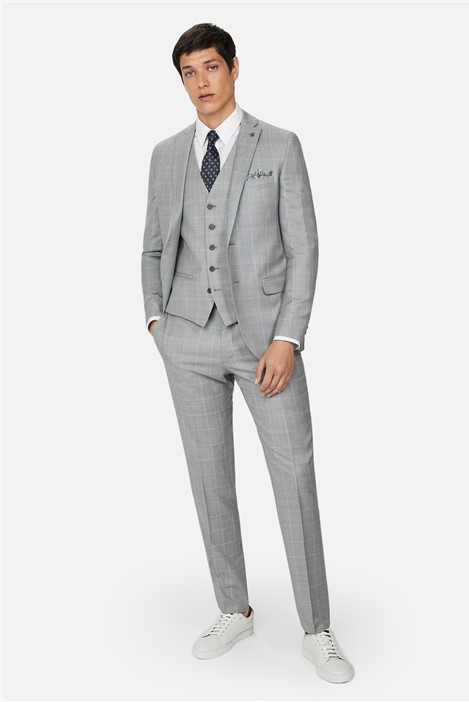 Ted Baker Grey Pale Blue Check Slim Suit