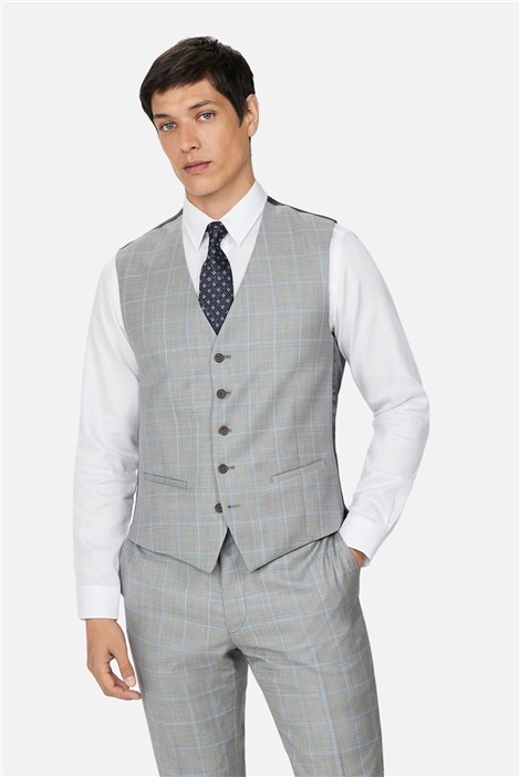 Ted Baker Grey Pale Blue Check Slim Waistcoat