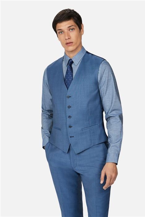 Ted Baker Light Blue Pick and Pick Slim Waistcoat