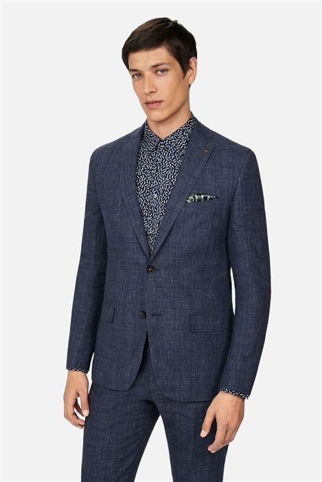 Ted Baker Linen Navy Check Slim Suit