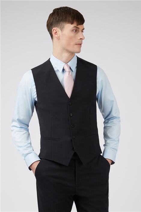 Ted Baker Black Panama Slim Waistcoat