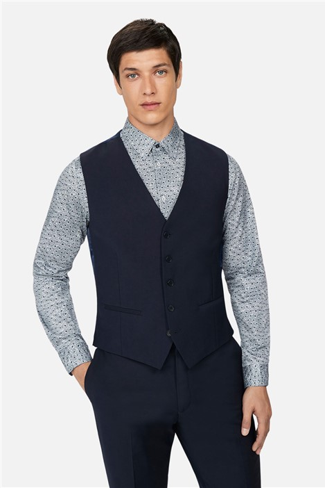 Ted Baker Navy Panama Slim Waistcoat