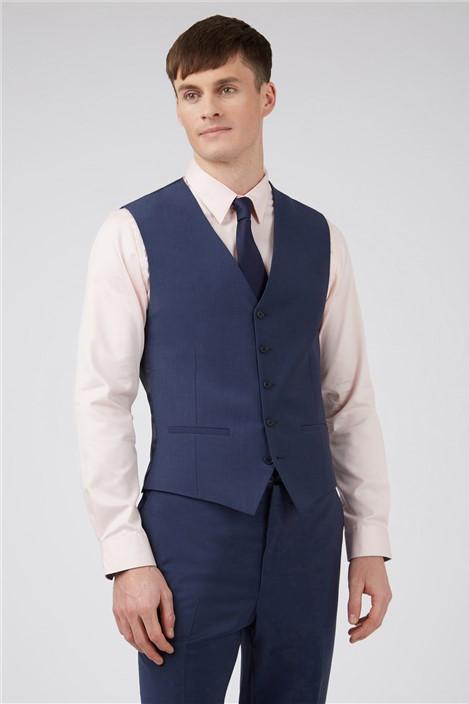 Ted Baker Blue Panama Slim Waistcoat