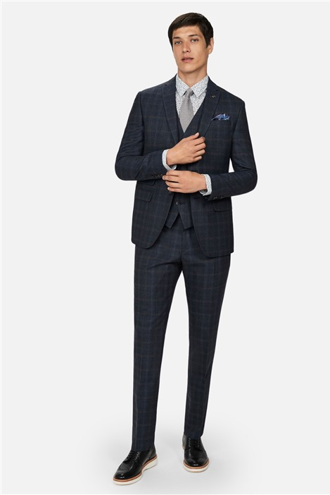 Ted Baker Navy Tan Check Slim Fit Suit