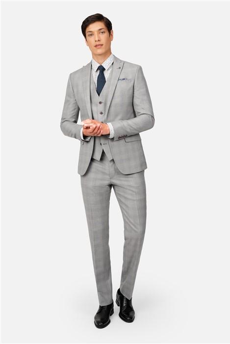 Ted Baker Light Grey Blue Check Slim Fit Suit
