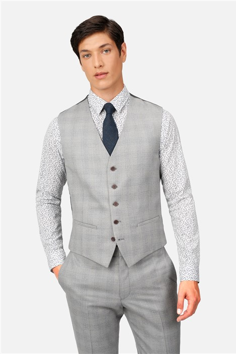 Ted Baker Light Grey Blue Check Slim Fit Waistcoat