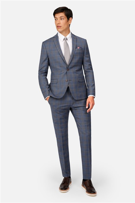 Ted Baker Light Blue Tan Check Skinny Fit Suit