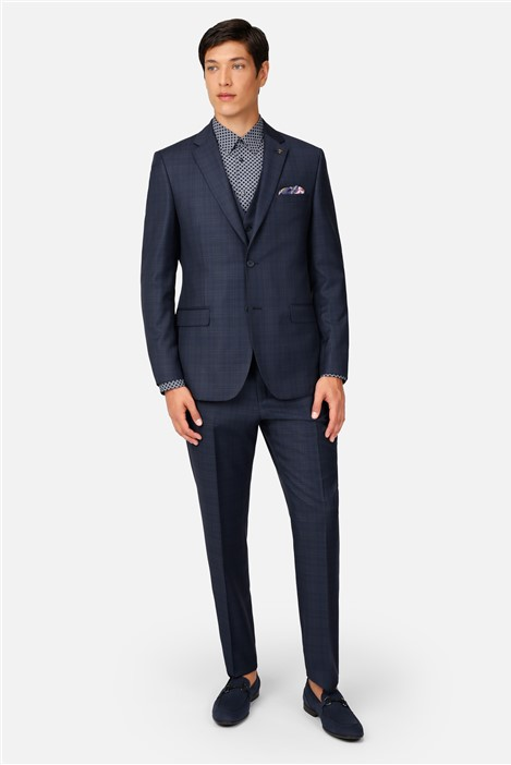Ted Baker Navy Tonal Check Regular Fit Suit