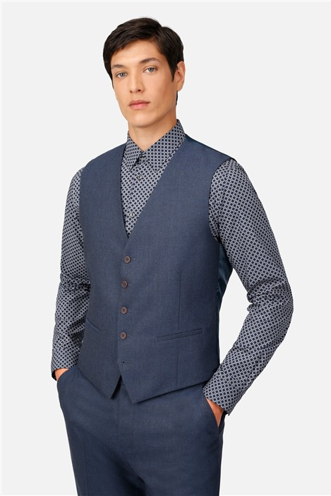 Ted Baker Airforce Blue Flannel Regular Fit Waistcoat