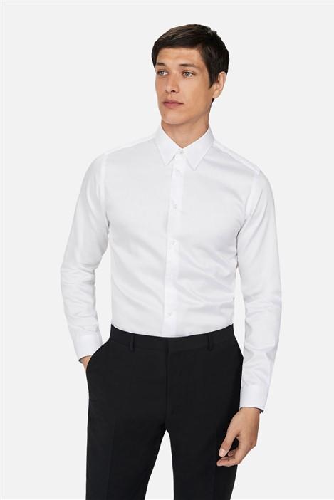 Ted Baker White Sateen Regular Fit Shirt