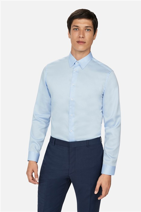 Ted Baker Light Blue Sateen Slim Fit Shirt