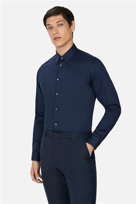 Ted Baker Navy Sateen Slim Fit Shirt