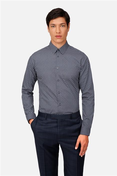 Ted Baker Navy Geo Print Regular Fit Shirt