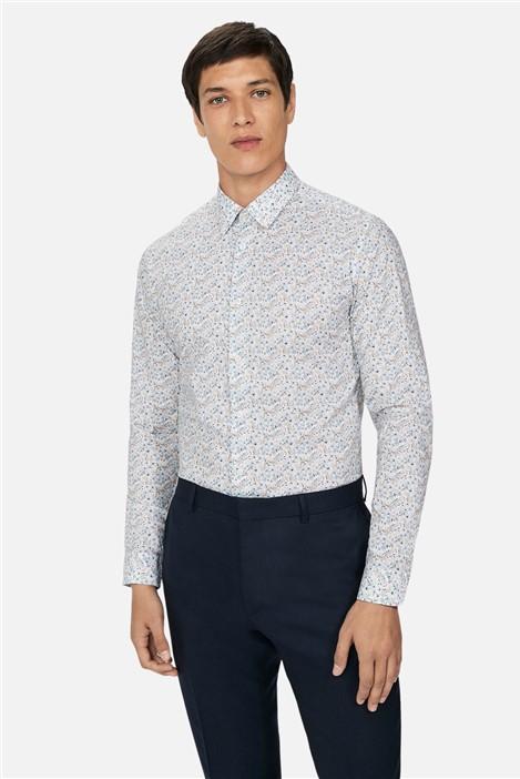 Ted Baker Pale Blue Floral Print Slim Fit Shirt