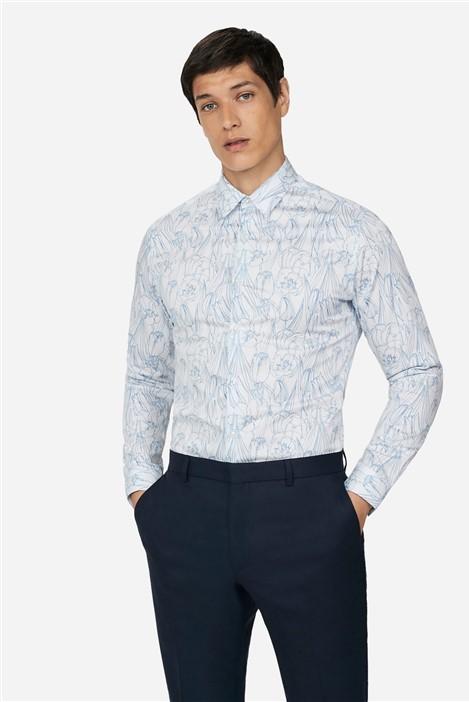 Ted Baker Blue Floral Skinny Fit Shirt