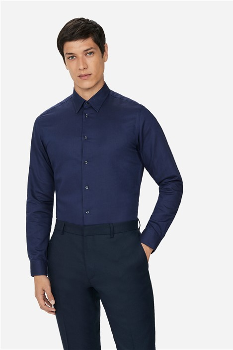 Ted Baker Navy Linen Slim Fit Shirt