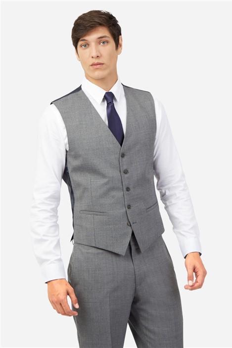 Ted Baker Grey Blue Textured Slim Waistcoat