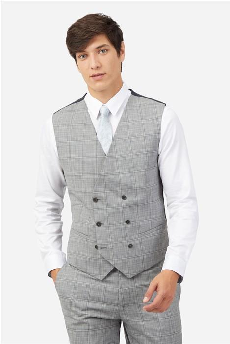 Ted Baker Light Grey Tonal Checked Waistcoat