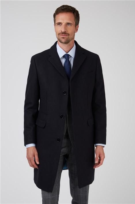 Ted Baker Navy Melton Overcoat